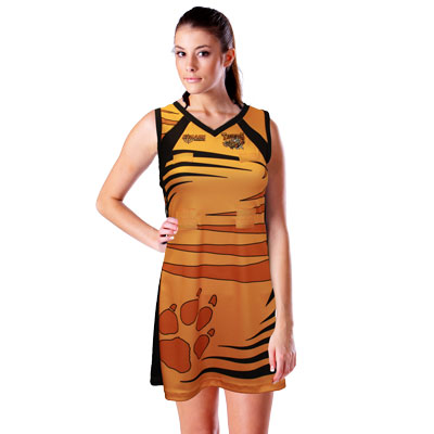 *Sublimated Liquid Titanium Mesh Flared A-Line Netball Dress